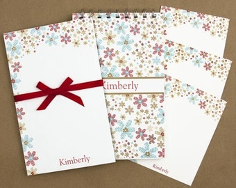 Stationery Set with Notepad, Cards and Journal - Confetti Flower Design
