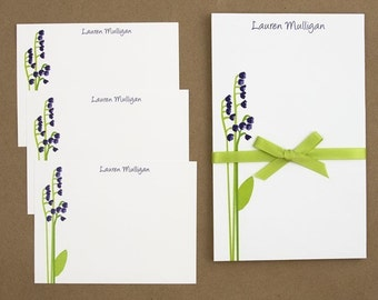 Custom Stationary set notepad and note cards- Purple LIttle Flower Buds