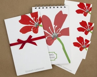 Stationery Set with Notepad, Cards and Journal - Romance Red Flower Design