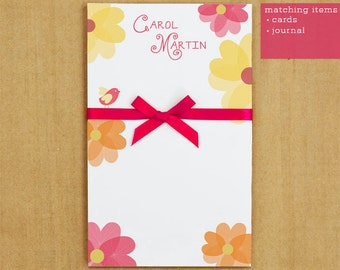 Personalized Stationary - Flirty Flower Notepad