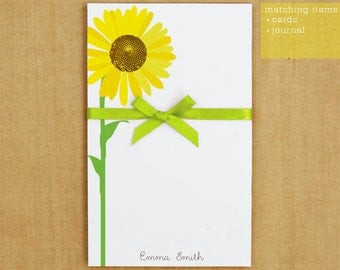 Personalized Stationary - Sunflower Notepad