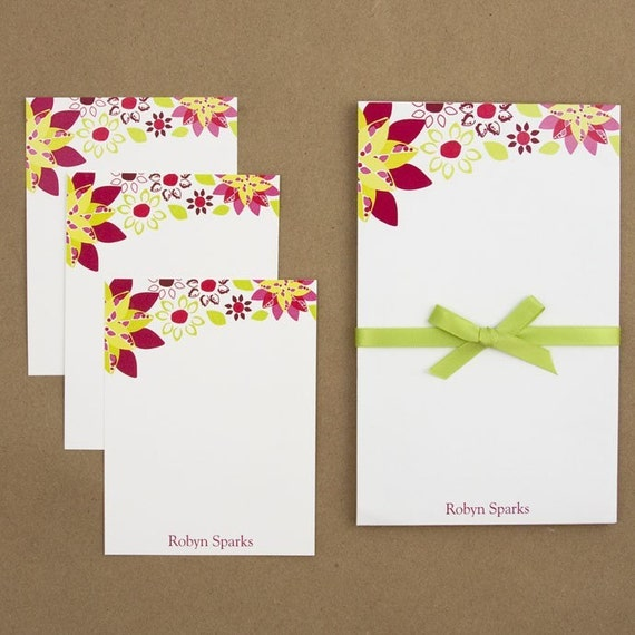 Custom Stationary Set - Notepad and Note Cards - Flower Punch