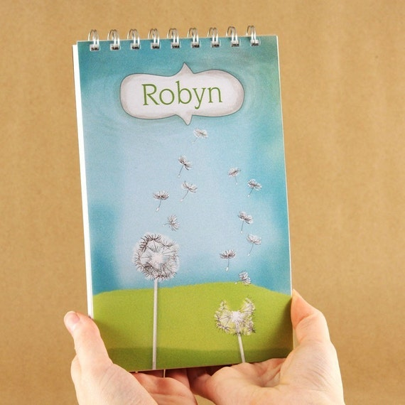 Personalized Journal Notebook - Dandelion in the Sky