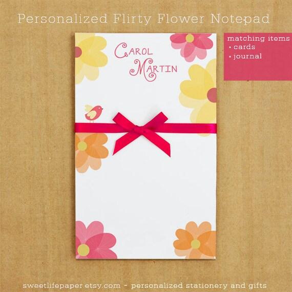 Personalized Stationary - Flirty Flower Notepad