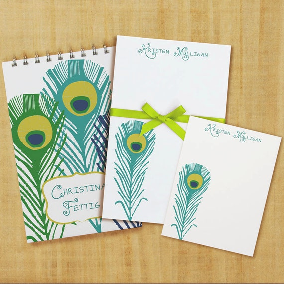 Stationary Set with Notepad, Cards and Journal - Peacock Design