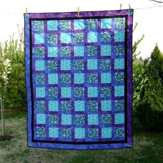 On the Lake Aqua & Purple Quilt Price reduced