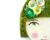 Reserved for Paloma - Sophie Brooch - Handmade Embroidered Vintage inspired, 1920s fashion style, Flapper Felt Brooch