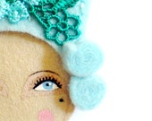 Reserved for Paloma - Mary Antoinette - Handmade Embroidered Vintage inspired, Victorian Hairstyle Felt Brooch