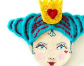 Reserved for Stacey (sweettea16) Felt brooch - Queen of Hearts, aqua, gold, burgundy, Alice in Wonderland, woman face
