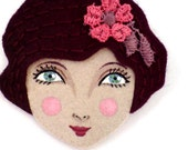 Sophie Hand-embroidered flapper girl felt brooch pin burgundy 1920s inspired