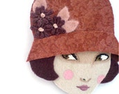 Reserved for Stacey (sweettea16) Fabric brooch - Emma, 1920s Flapper, wearable art, Autumn, rust red, burgundy, woman face
