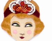 Fabric brooch - Dixie, Flapper, yellow gold, rust red, Autumn