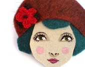 Twenties flapper girl brooch felt - Louise, auburn, teal, red, Autumn, woman face