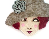 Reserved for Annina - Fabric brooch - Frannie, Sweet 1920s girl, grey, garnet, woman face