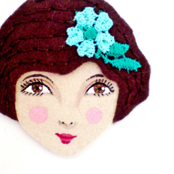 Reserved for Ting - Sophie Brooch - Handmade Embroidered Vintage inspired, 1920s fashion style, Flapper felt and ultra suede Brooch