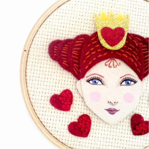 Queen of hearts embroidery wall art hoop by yalipaz on etsy