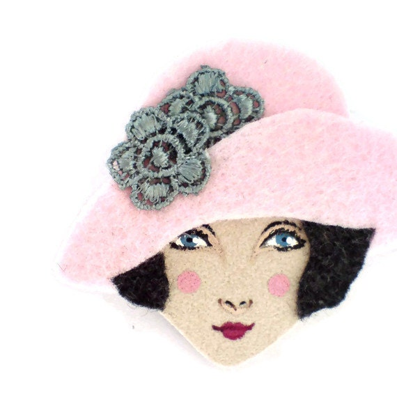 Frannie - 1920s inspired  flapper Felt Brooch in pink