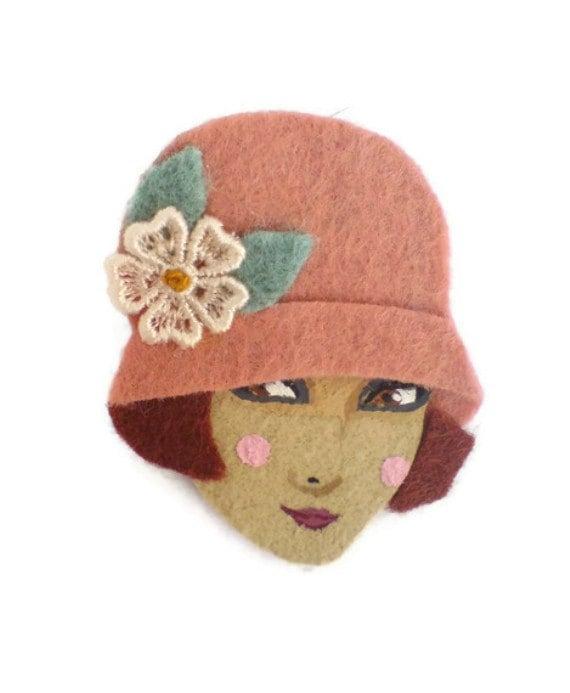 Jazz Age Girl Felt Brooch, Fabric Brooch, Art Brooch, Wearable Art Jewelry