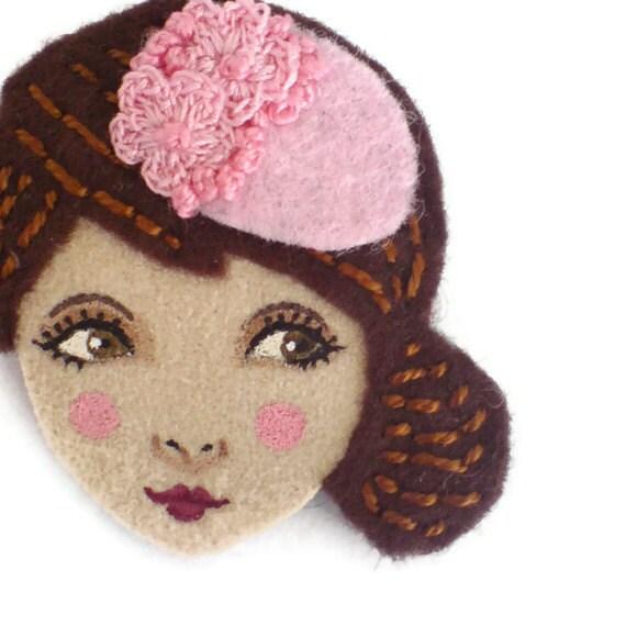 Reserved for Sophie - 1940s Girl Felt Brooch