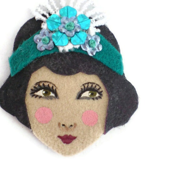 Reserved for Sophie -  - 1920s Girl Fabric Brooch