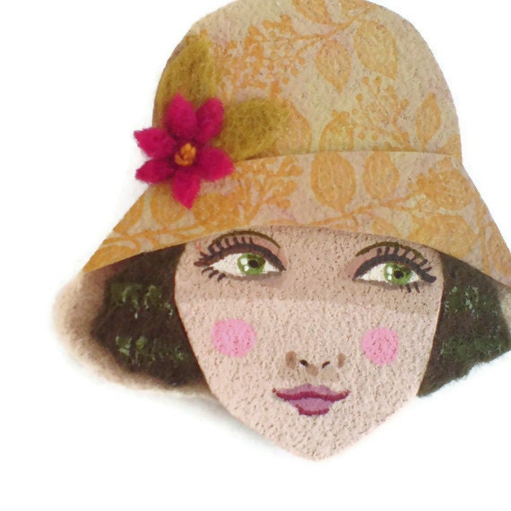 Reserved for Sophie - Flapper Girl Fabric Brooch
