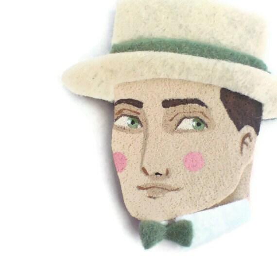 Retro Man Felt Brooch, Fabric Brooch, Art Brooch, Wearable Art Jewelry, Mother's Day Gift