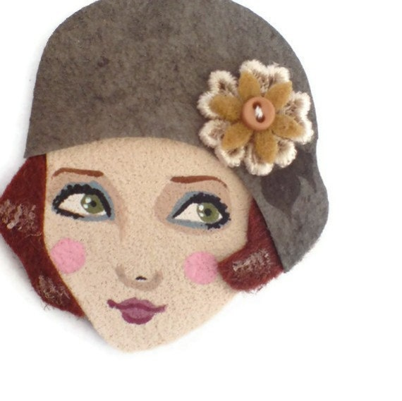 SALE - 20s Fashion Girl Fabric Brooch, Felt Brooch, Art Brooch, Wearable Art Jewelry, Mother's Day Gift