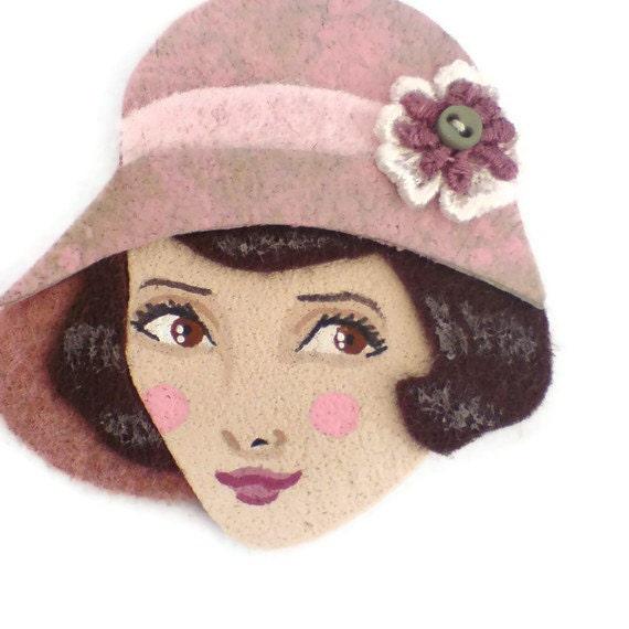 SALE - Art Deco Flapper Fabric Brooch, Felt Brooch, Art Brooch, Wearable Art Jewelry, Mother's Day Gift