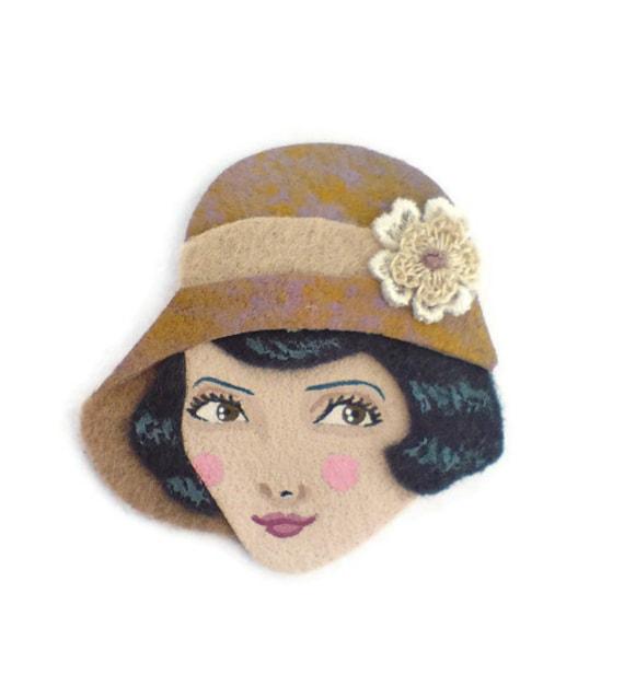SALE - Jazz Age Girl Fabric Brooch, Felt Brooch, Art Brooch, Wearable Art Jewelry, Mother's Day Gift