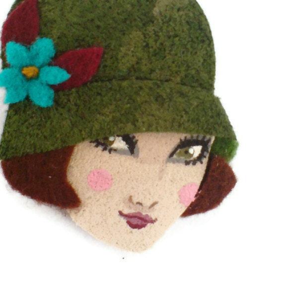 Pretty 20s Girl Fabric Brooch, Felt Brooch, Art Brooch, Wearable Art Jewelry, Mother's Day Gift