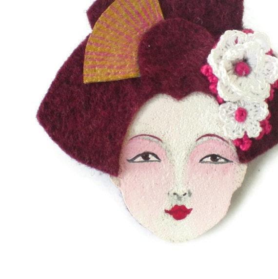 SALE - Japanese Geisha Felt Brooch, Fabric Brooch, Art Brooch, Wearable Art Jewelry