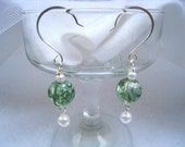 Green Crackle Glass with Pearls drop earrings