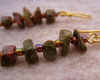 Gold and Unakite Gemstone Dangle Earrings