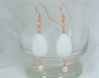 Milky White drops with freshwater pearls and copper earrings