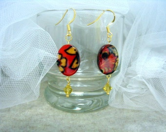 14k Gold and Yellow Bicone Drops with Fall Style Accent earrings