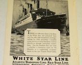 Original   Magazine Advertisement  For White Star Line  (Hold for James Gundersen Mclaughlin)