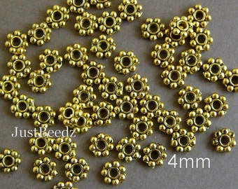 200 pc  4mm Antique Gold Metal Daisy Spacer Beads (K06)