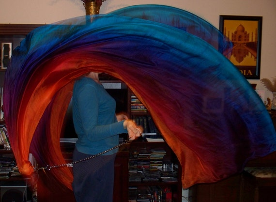 Sahariah's Silk Belly Dance Veil Killer Tornado Poi Voi Set