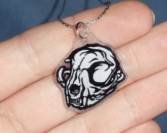 Hand Drawn Tribal Domestic Cat Skull Shrinky Dink Pendant Necklace