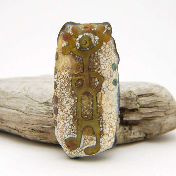 Reserved For Scoots61 - Petroglyph Bead - Handmade Lampwork Glass Focal - SRA