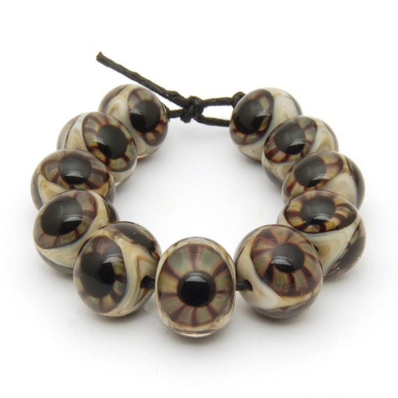 Glass Eyeball Beads (11) Handmade Lampwork Glass Beads Set of Eleven - SRA