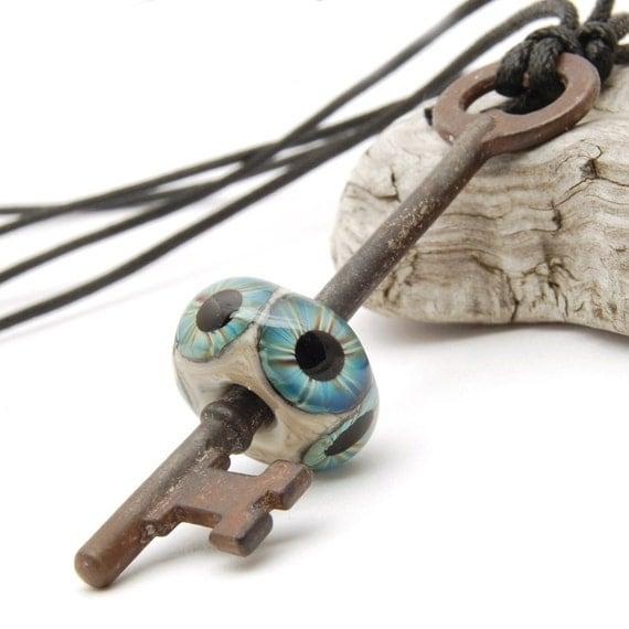 Blue Eyeball Skeleton Key - Necklace - Handmade Lampwork Glass Bead