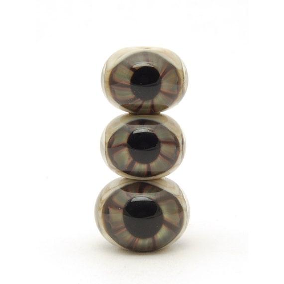 Glass Eyeball Beads (3) Handmade Lampwork Beads Set of Three