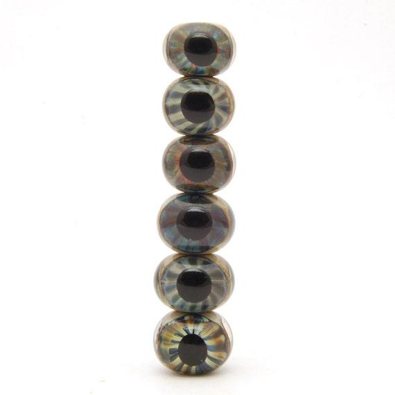 Random set of Eyeballs - Glass Eyeball Beads (6) Handmade Lampwork Beads Set of Six - SRA