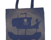 Pirate Ship Bleached Canvas Tote Bag