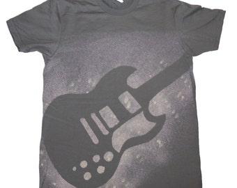 Mens Grey Guitar Tee Shirt