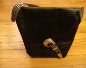 Black studded alligator purse