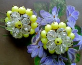 Vintage Yellow and Clear Cluster Beaded Earrings