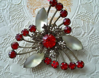 Vintage Pin with Red Stones and Frosted Type Navettes