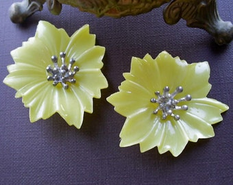 Unique Early Plastic Yellow Flower Earring Fronts